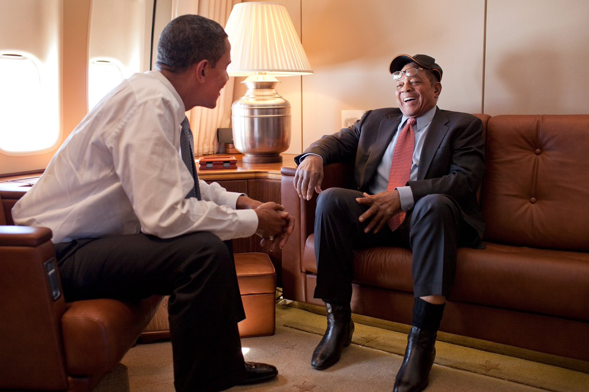 Happy 90th birthday to Willie Mays! If it wasn't for folks like Willie and Jackie Robinson, I might never have made it to the White House. The spirit he played with and the way he carried himself changed the game and people's attitudes. I'm glad he's still going strong. https://t.co/DTlRlart5U