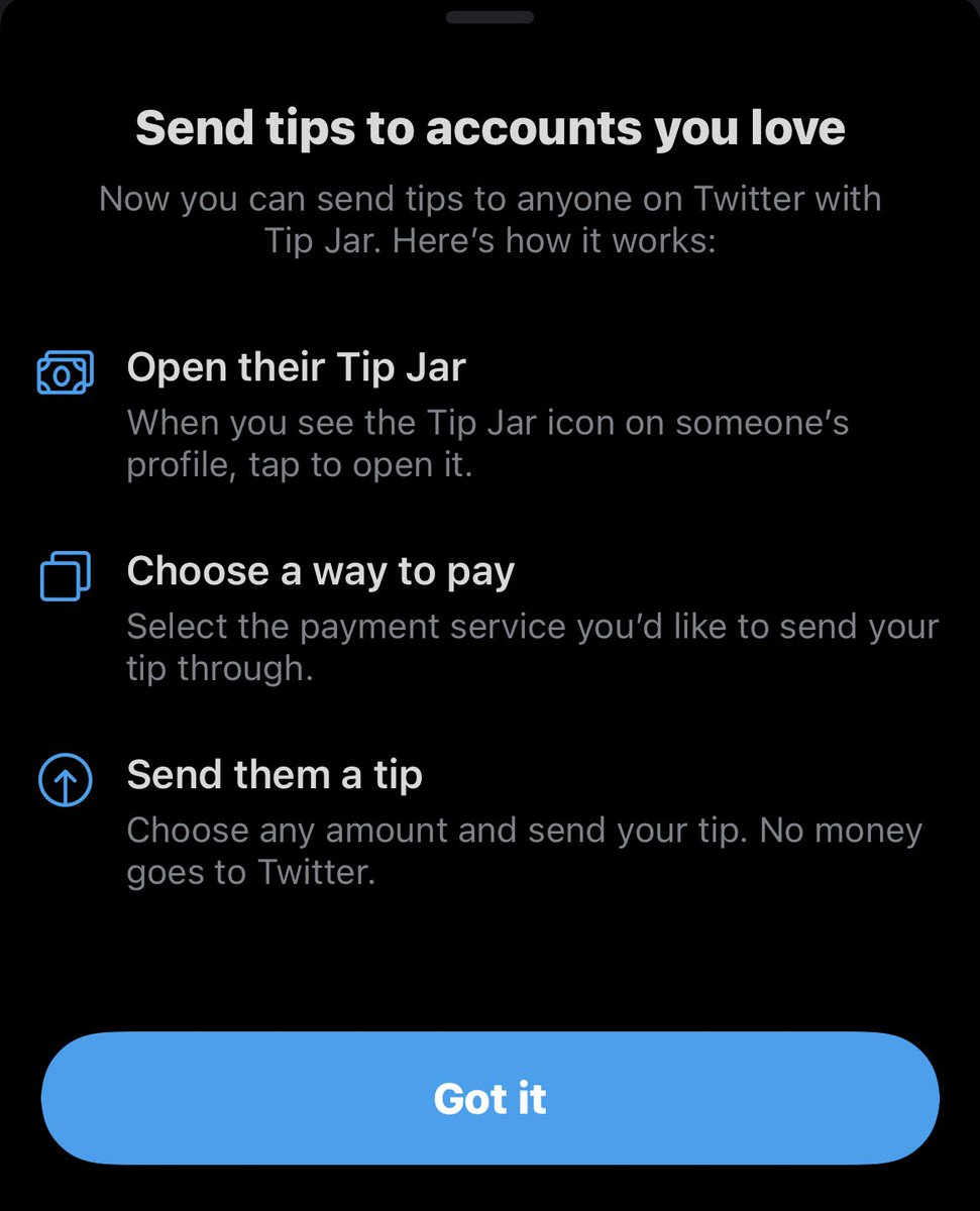 Twitter is adding the ability to send tips to your favorite accounts. 100% of the tip goes to the account, twitter won't keep any of it. https://t.co/7EKWEYmGVn