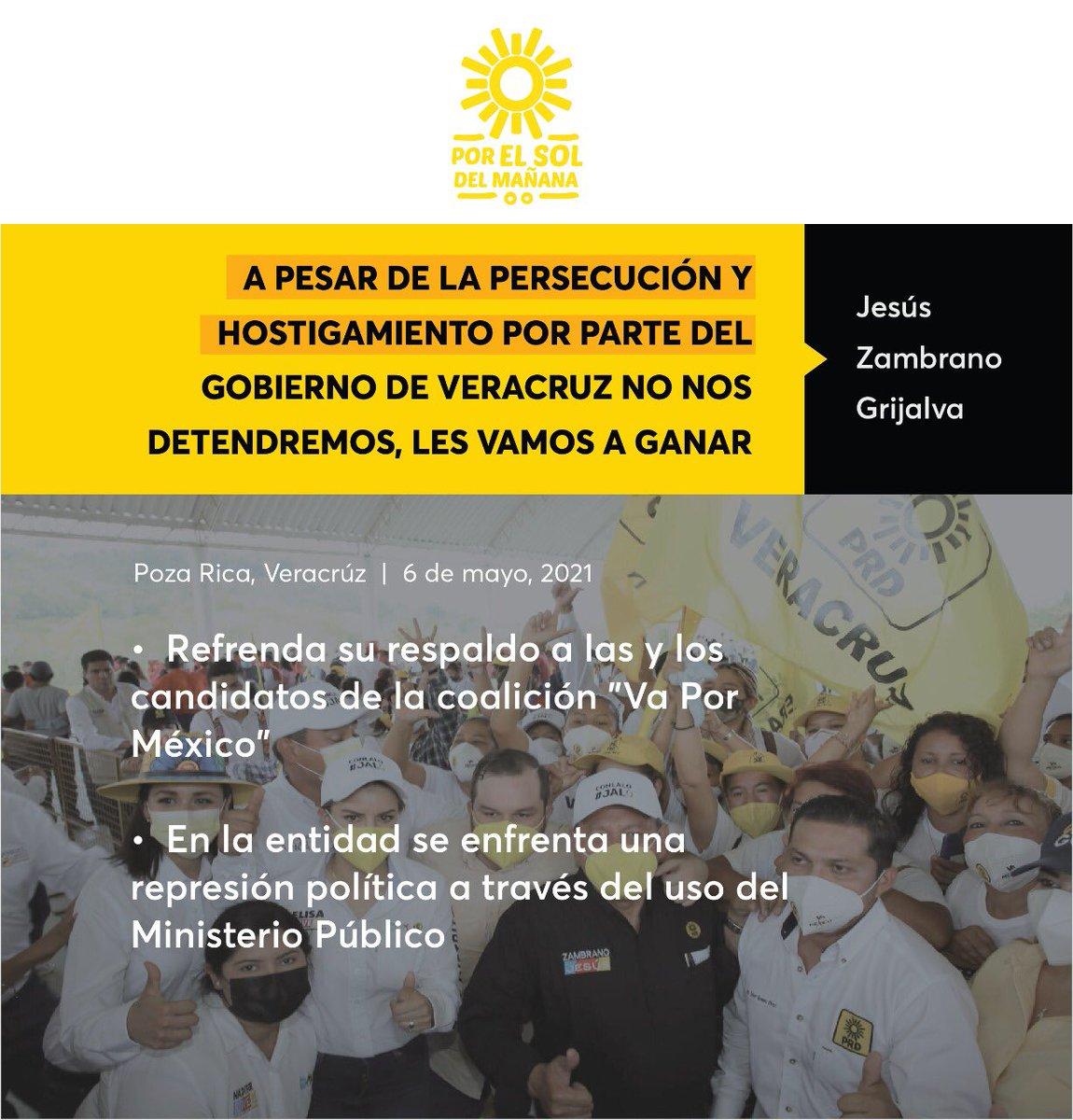 A pesar de la persecución y hostigamiento por parte del gobierno de Veracruz no nos detendremos, les vamos a ganar: @Jesus_ZambranoG   Comunicado 📃🔆➡️  https://t.co/vSGuUG4sy1 https://t.co/kUhscbY7rr