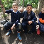 Image for the Tweet beginning: 3/4 B enjoying sticks, mud