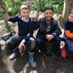 Image for the Tweet beginning: 3/4 B enjoying sticks, mud