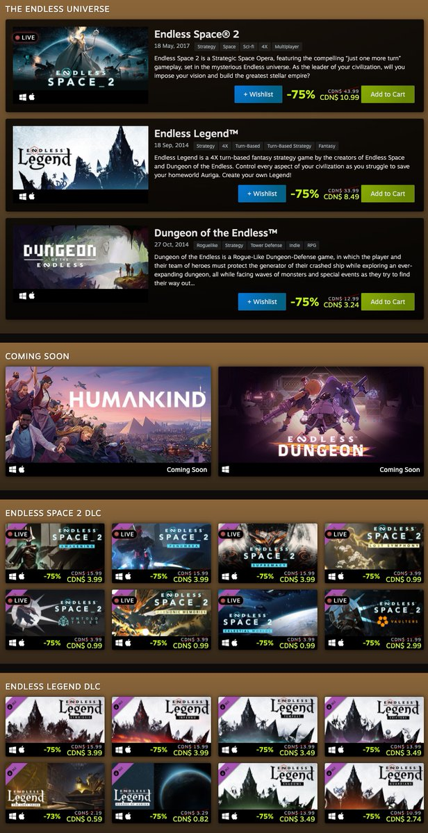 Endless Universe Sale on Steam
