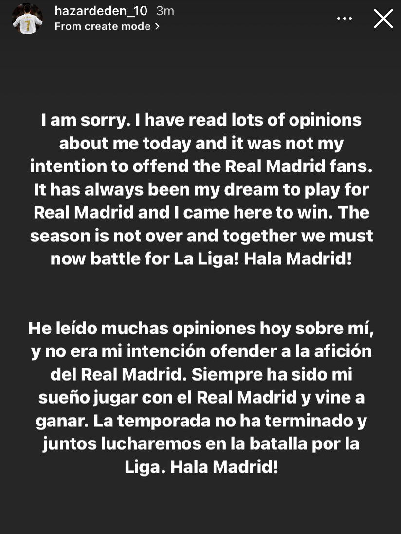 Eden Hazard apologized to Real Madrid fans after video emerged of him laughing with Chelsea players after UCL loss.