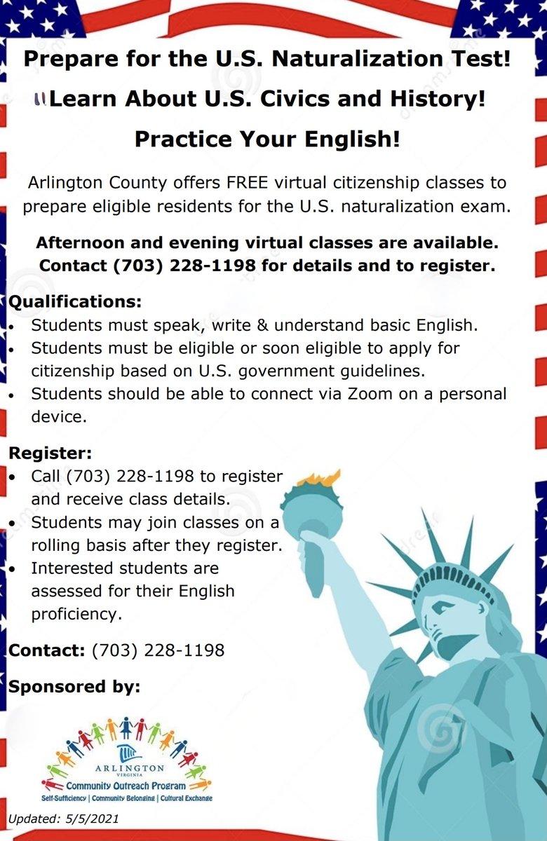 ¿Se está preparando para convertirse en ciudadano estadounidense? ¡Vea las clases de ciudadanía en línea impartidas por los maestros voluntarios del condado de @ArlingtonVA ! Clases gratuitas por la tarde y la noche, llame al 703-228-1198 para registrarse. Becas también disponibles para tarifas de USCIS: https://t.co/pSm4G1ifgT #adultedu https://t.co/4jZvNO1skS