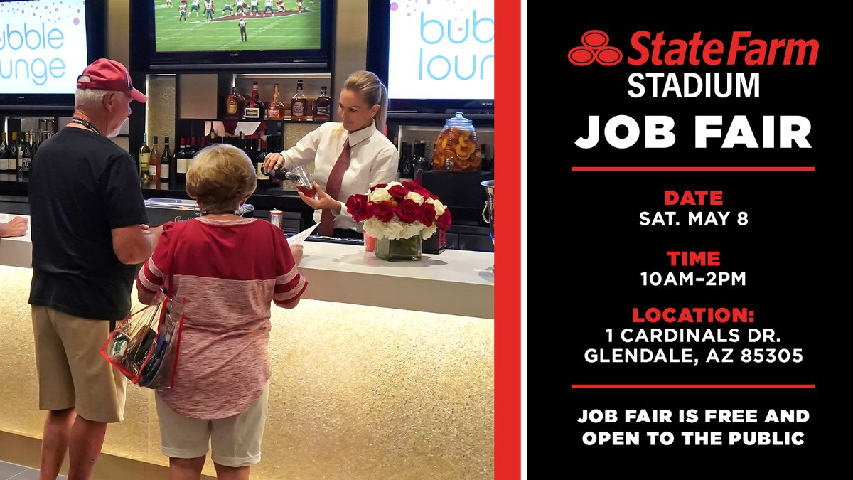 This Saturday from 10AM-2PM @StateFarmStdm will host a job fair. Over 600 part-time positions are available with @ASMGlobalLive, Craft Culinary Concepts, Insignia Event Services and S.A.F.E. Management. For more information visit https://t.co/RYZqEdzvUS https://t.co/3wFrBQuFk4
