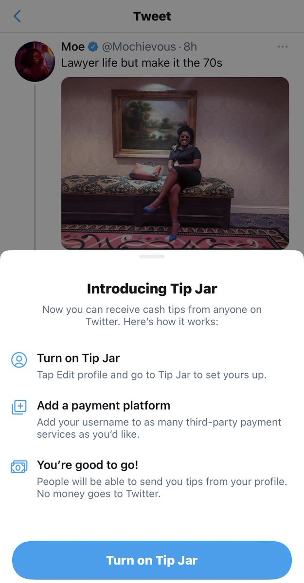 """Moe on Twitter: """"Twitter's new feature Tip Jar allows you to get paid for  tweeting.… """""""