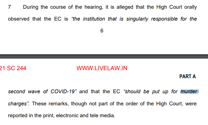 "Oral to written. Madras court slams India's Election Commission (EC) orally saying you should be put up for ""murder charges"" for COVID-19 mismanagement. EC appeals to Supreme Court, which rejects it, but records ""murder charges"" reference in its ""written order""! @manuvichar https://t.co/eOfrYDAmR9"