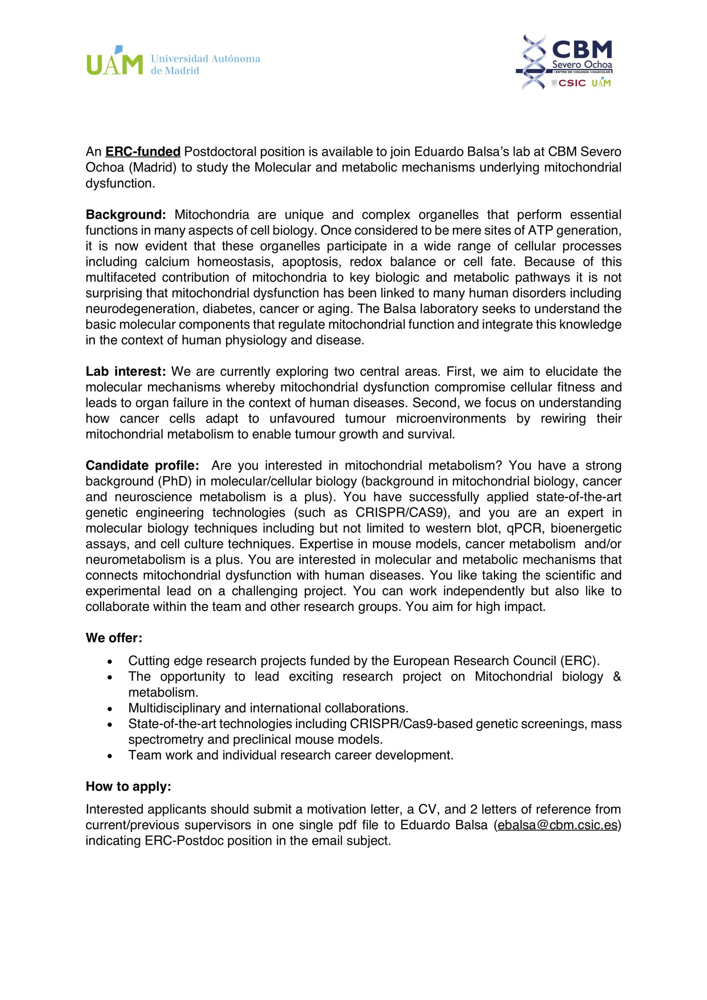 Eduardo Balsa On Twitter Hiring Alert We Are Looking For A Motivated Postdoc To Join Our Lab At Cbmso Csic Uam If You Are Interested In Mitochondrial Bilogy Amp Metabolism Please Apply Send Your Application Cover Letter