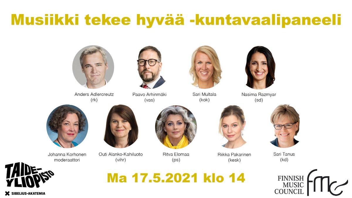 Musiikkineuvosto järjestää yhdessä @Taideyliopisto'n Sibelius-Akatemian kanssa Musiikki tekee hyvää -kuntavaalipaneelin. Tervetuloa katsomaan striimiä ma 17.5. klo 14.00 alkaen!  Lisätiedot: http://musiccouncil.fi/?p=1814  #Musiikkineuvosto #musiikkioikeudet #kuntavaalit #5musicrights