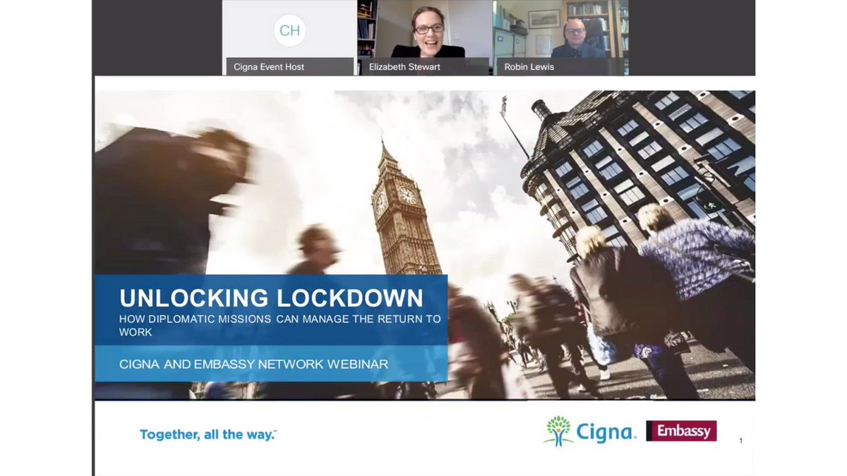 test Twitter Media - Vital info shared at our Unlocking Lockdown eForum with partner @Cigna on how embassies can ensure a #covid-safe return to work & advice on managing hybrid working & mental health. Thanks to panellists @RobinlewisHR, Jeff Lake & Liz Dunsford @CityWestminster Janice Lo @PHE_London https://t.co/qscngK3fcq