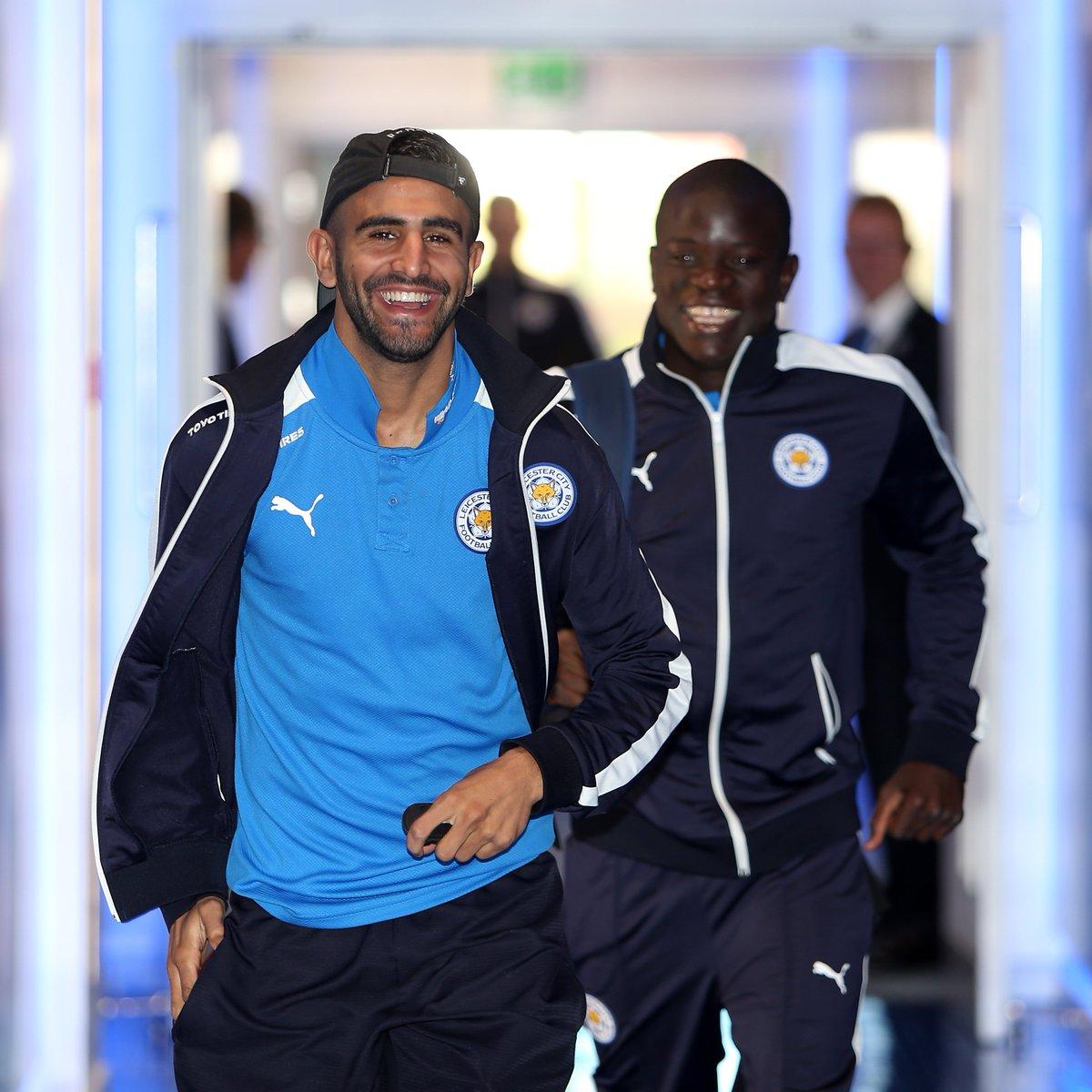 Friends reunited in the #UCLfinal 🔜  Riyad Mahrez & N'Golo Kanté 😀  #UCL https://t.co/7nthBoefOu
