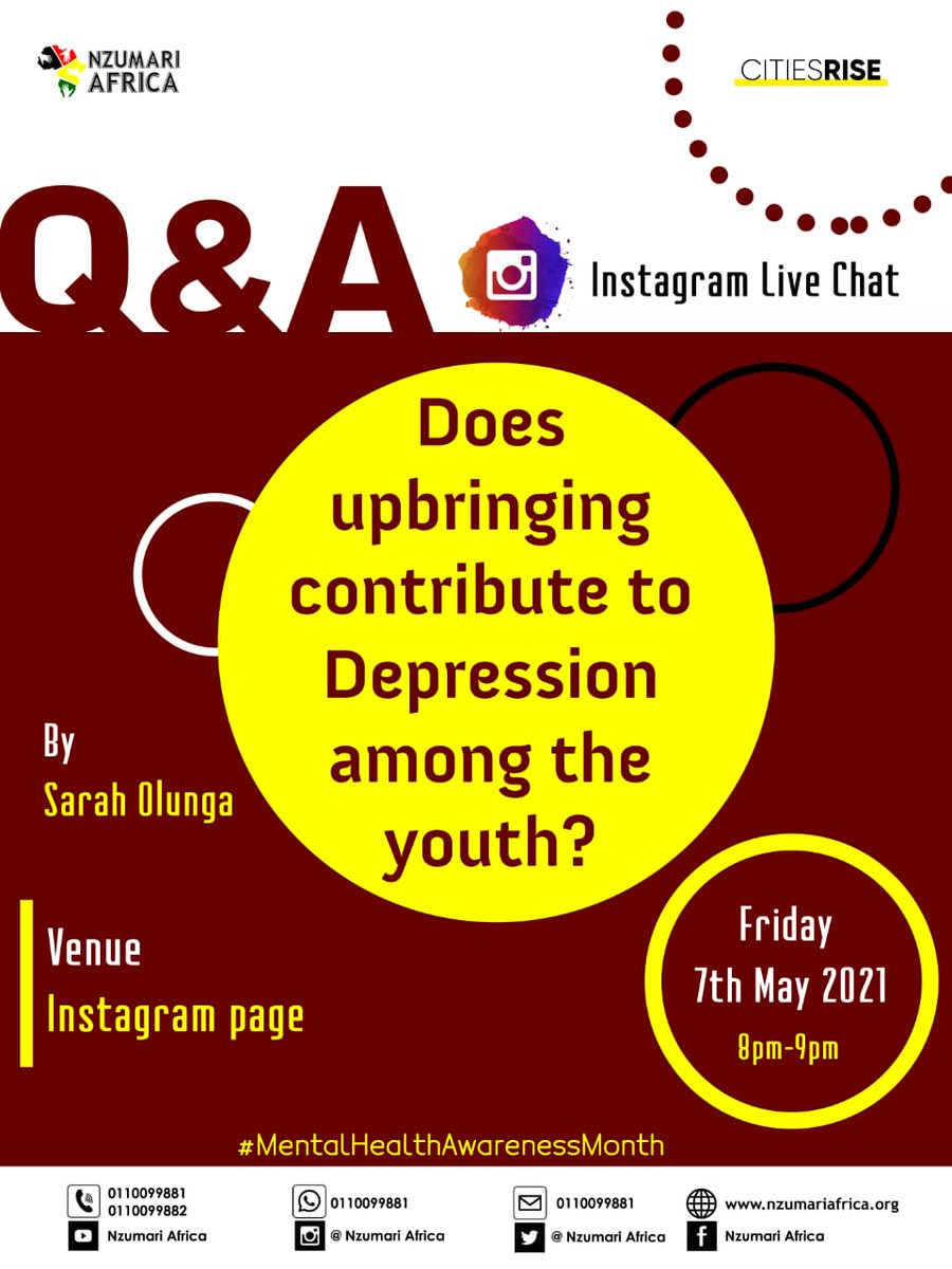 This evening between 8 to 9pm, join us for an instagram chat on our story session to discuss on whether or not one's upbringing contributes to depression.  #mentalhealthawarenessmonth  Follow us on Instagram via the link below👇