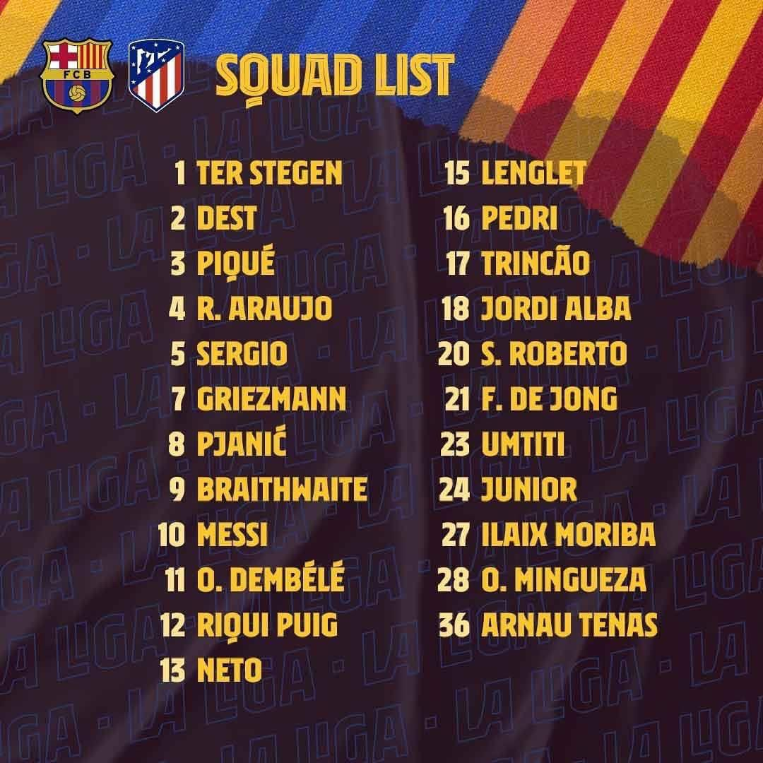 Squad list for tomorrow's game against @Atleti!  #BarçaAtleti #Barça #AtleticoMadrid #Squad https://t.co/ee5AuVkfDx