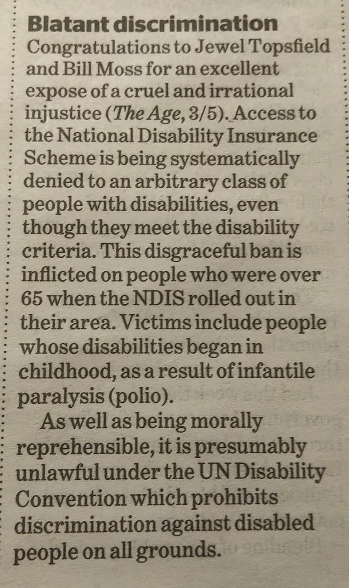 """Yet another response to the recent article in The Age """"Falling off the 'magical cliff': Call for review of NDIS age 'discrimination'"""". Written by our board member, Peter.  https://t.co/Pmi4RaQBbv"""