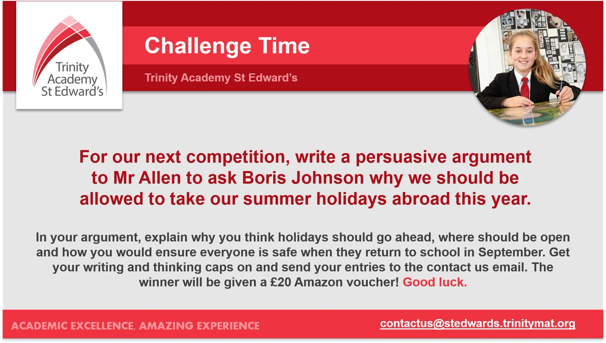 ✏️ Get involved!  Mr Allen wants you to get your thinking cap on & write a #persuasiveargument about why we should be allowed to take our summer holidays abroad this year ⛅️ Explain where should be open & how you would ensure everyone is safe ❤️ Winner gets a £20 Amazon voucher!