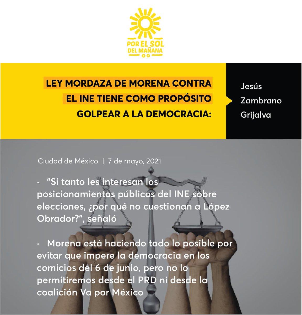 Ley mordaza de Morena contra el INE tiene como propósito golpear a la democracia: @Jesus_ZambranoG   Comunicado 📃🔆➡️ https://t.co/gnw2b1DQKj https://t.co/AsRsxIHjWb