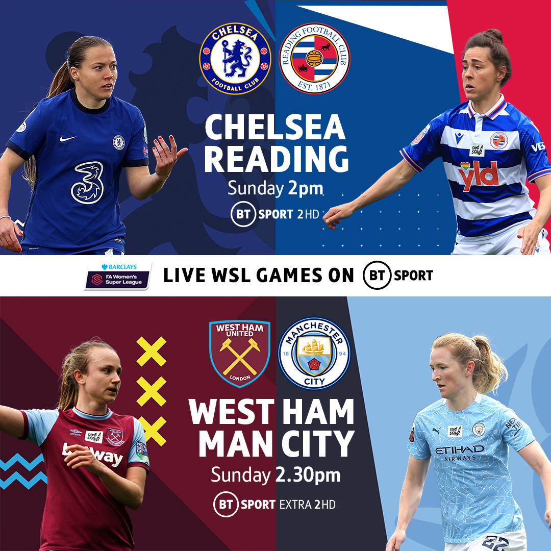 BT Sport is the ONLY place to follow the conclusion of a dramatic @BarclaysFAWSL title race! 🙌  @ChelseaFCW 🆚 @ReadingFCWomen  @westhamwomen 🆚 @ManCityWomen   Join us LIVE this Sunday! 🏆 https://t.co/kpRxXZTUMh