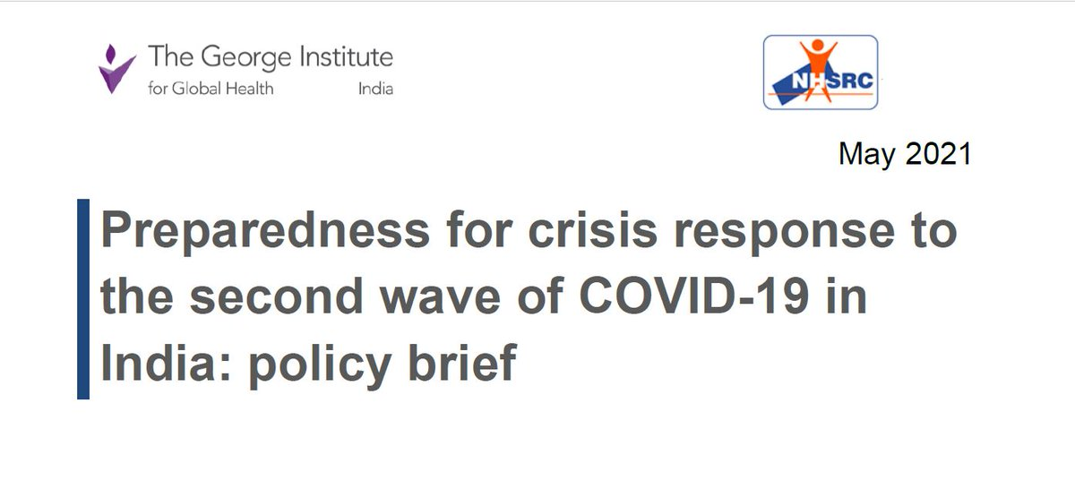 A crisis response plan for #COVIDSecondWave in India :  from @GeorgeInstIN & @NHSRC_India covering the entire ground of magnitude, flattening the curve &  system scaling up strategies   🔗https://t.co/ZhVt7fFTCD  Evidence synthesis of 120+ papers in 6 domains done in 5 days 1/n https://t.co/yb8SLcvcFJ