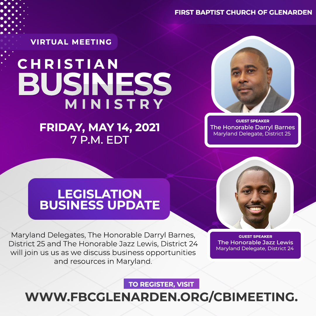 The Christian Business Ministry is so honored to have @delegatebarnes and @JazzforMaryland both @FBCG members too! They will share legislative updates to support #SmallBusiness #entrepreneurs  #FBCGCBM #BusinessTips #PrinceGeorgesProud #FBCGLive https://t.co/Zm9yHWoPYL