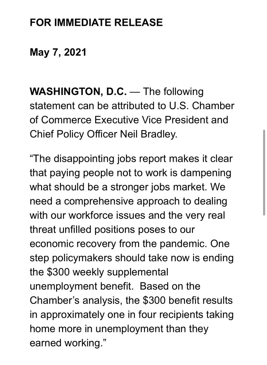 "INBOX: The @USChamber is calling on lawmakers to end the $300 supplemental boost in UI benefits. ""Based on the Chamber's analysis, the $300 benefit results in approximately one in four recipients taking home more in unemployment than they earned working."" https://t.co/oh9ptUybML"