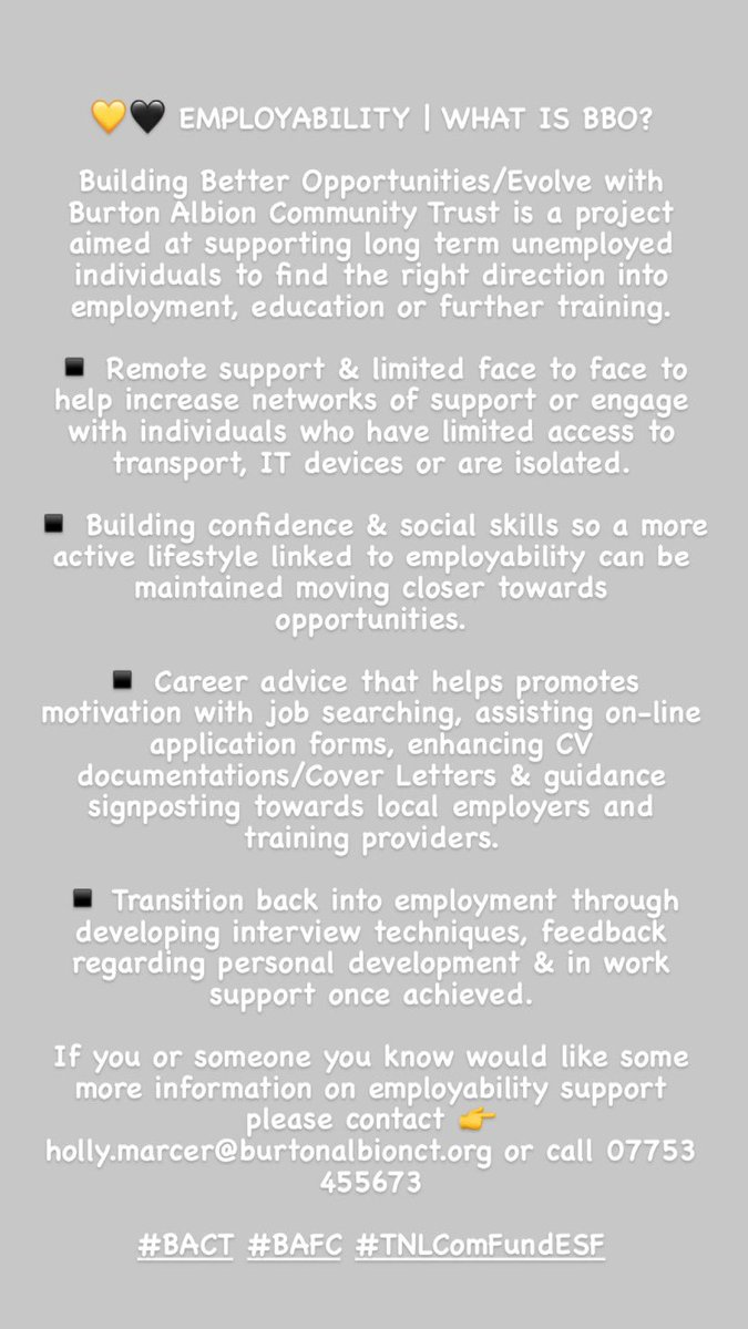 💛🖤EMPLOYABILITY   WHAT IS BBO?  Have a read about our BBO Employability Programme👇  #BACT #BAFC #TNLComFundESF https://t.co/ow0IICqbNY
