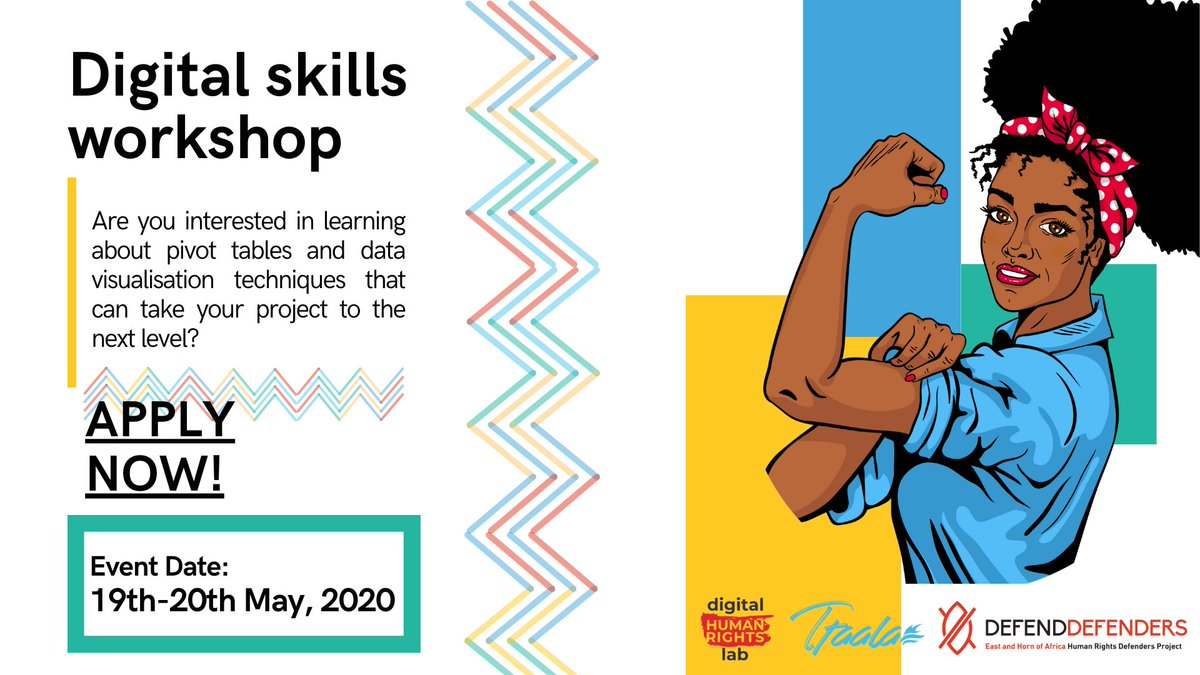 Call for applications! --> @DefendDefenders invites human rights defenders that are interested in advancing their data organization & graphics skills to apply to their digital skill workshop by May 18! Learn more here 👇https://t.co/5GqURcIxWp
