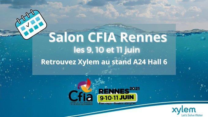 Alerte évènement ! 💦 Retrouvez @XylemFrance les 9, 10 et 11 juin au salon du @CFIAexpo  au parc des Expo de Rennes!  Venez nous rencontrer au stand A...