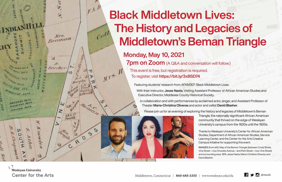 test Twitter Media - Black Middletown Lives: The History and Legacies of Middletown's Beman Triangle. 5/10, 7 pm. Jesse Nasta '07 and his SL class will present research, with performances by Maria-Christina Oliveras and @daveyblash. RSVP: https://t.co/VHf5Rl2WoL  @wesleyan_u @WesCFA @wes_alumni https://t.co/n5kW1kHmNZ