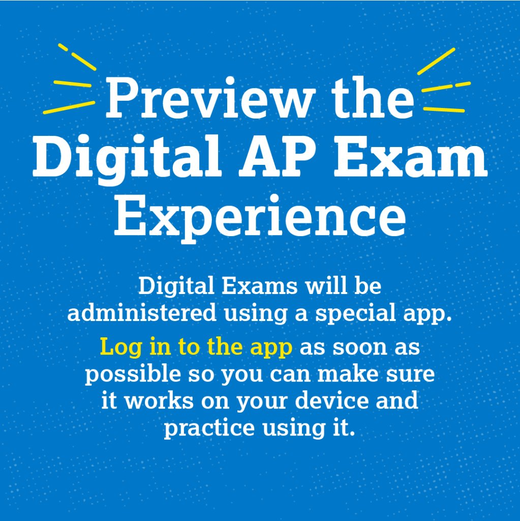 To @BishopReding students writing AP exams. This thread is full of great information. Practice using the testing app and familiarize yourself with the testing experience. https://t.co/NKfo7cVzF3