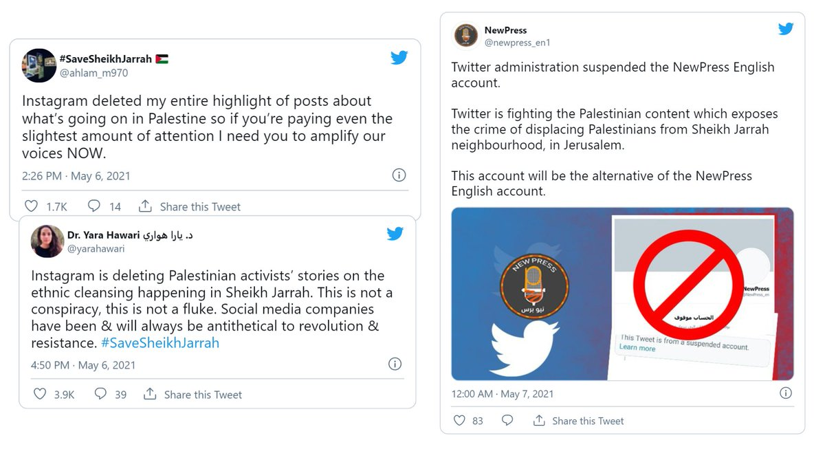 """Al Jazeera English on Twitter: """"Palestinians criticise social media companies for censoring Sheikh Jarrah content and shutting down their personal accounts. Read more ➡ https://t.co/QOukG1whSa… https://t.co/eGGSPjc327"""""""
