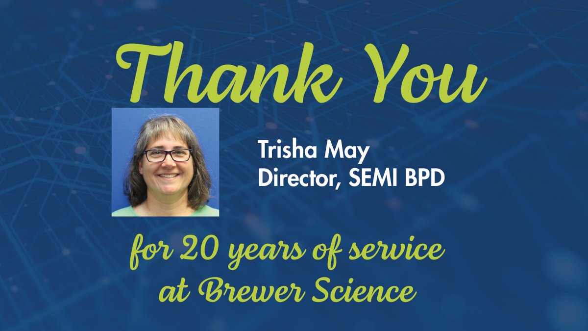 test Twitter Media - Today, we would like to congratulate Trisha May for 20 years of service at Brewer Science. Thank you, Trisha , for your dedication and hard work. . . . #EmployeeAppreciation #EmployeeAnniversary #WorkAnniversary #dedication #hardwork #appreciation #congratulation https://t.co/oirKfYCkfn
