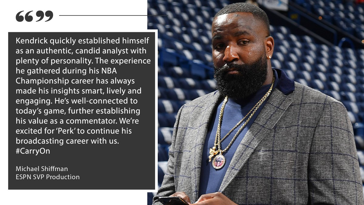 ESPN re-signs #NBA analyst @KendrickPerkins to a multi-year deal  Continues year-round presence across multiple ESPN platforms including #TheJump, #HoopStreams, @SportsCenter, @FirstTake & @GetUpESPN
