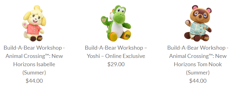 Build-A-Bear Tom Nook, Isabelle, and Yoshi are up at the Nintendo Online Store.