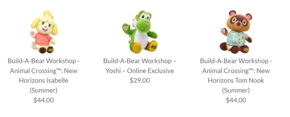 Build-A-Bear Isabelle, Yoshi, and Tom Nook are available at the Nintendo Store: