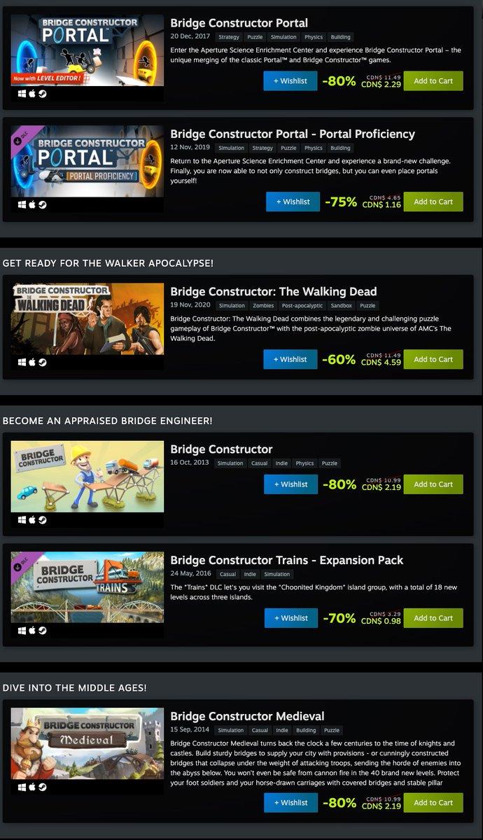 Bridge Constructor Franchise Sale on Steam
