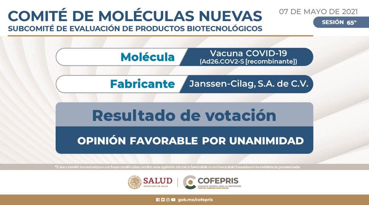 El Comité de Moléculas Nuevas 🧬de Cofepris informa sobre los resultados de votación para la Vacuna COVID-19 (Ad26.COV2-S [recombinante])  Conoce los resultados 👉 https://t.co/nFxjwciyZG  Conoce el proceso de optimización 👉 https://t.co/MFoiiwIx5N https://t.co/b0bF5gjn33