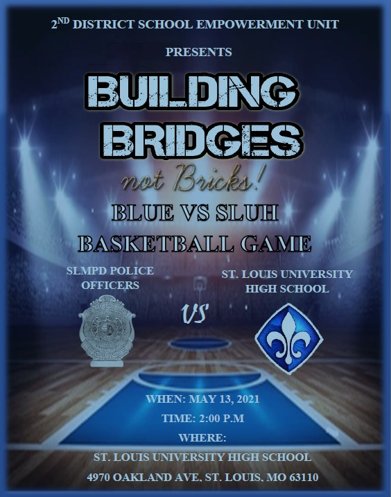 ***Don't Forget**   Tomorrow's the basketball game between @SLUHBasketball and #SLMPD @sluhjrbills.  Here's the link to watch if you can't attend! 👉https://t.co/Jmi2LpINDR  #BuildingBridgesNotBricks