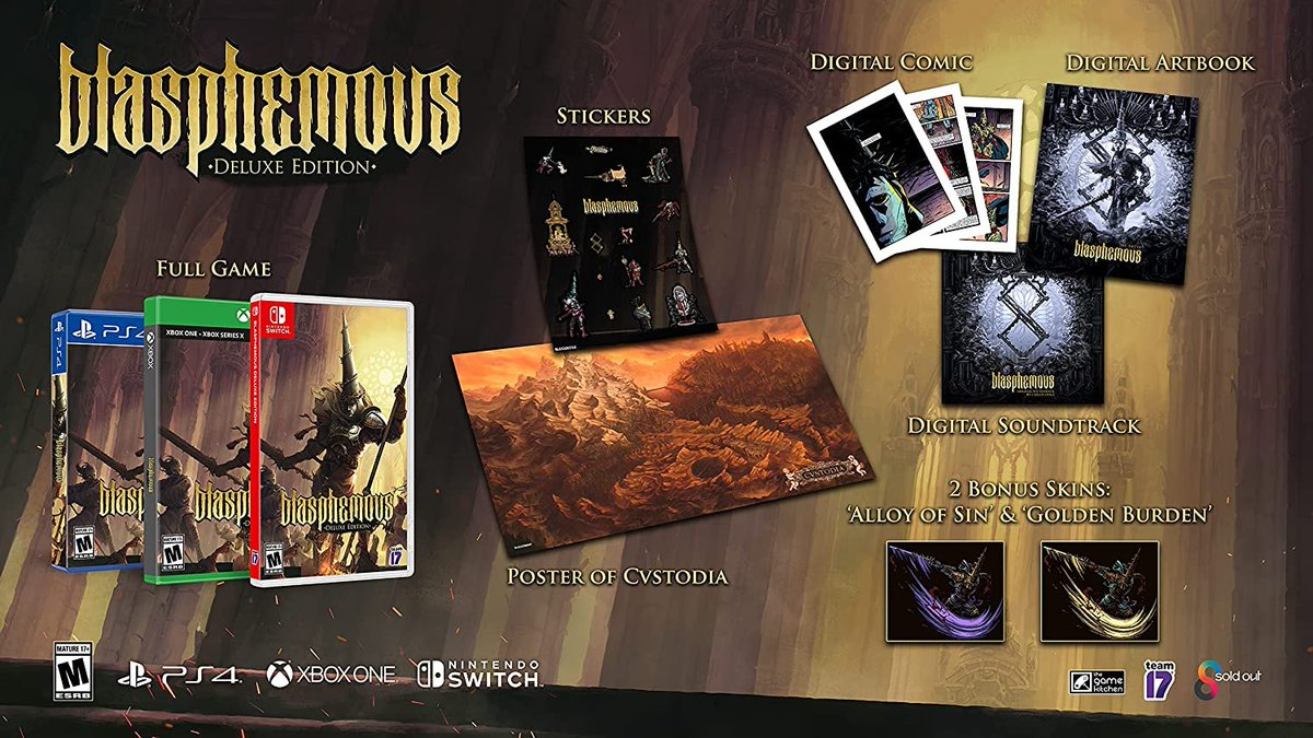 Blasphemous Deluxe Edition (Switch) pre-order on Amazon:   $39.99 releases June 29