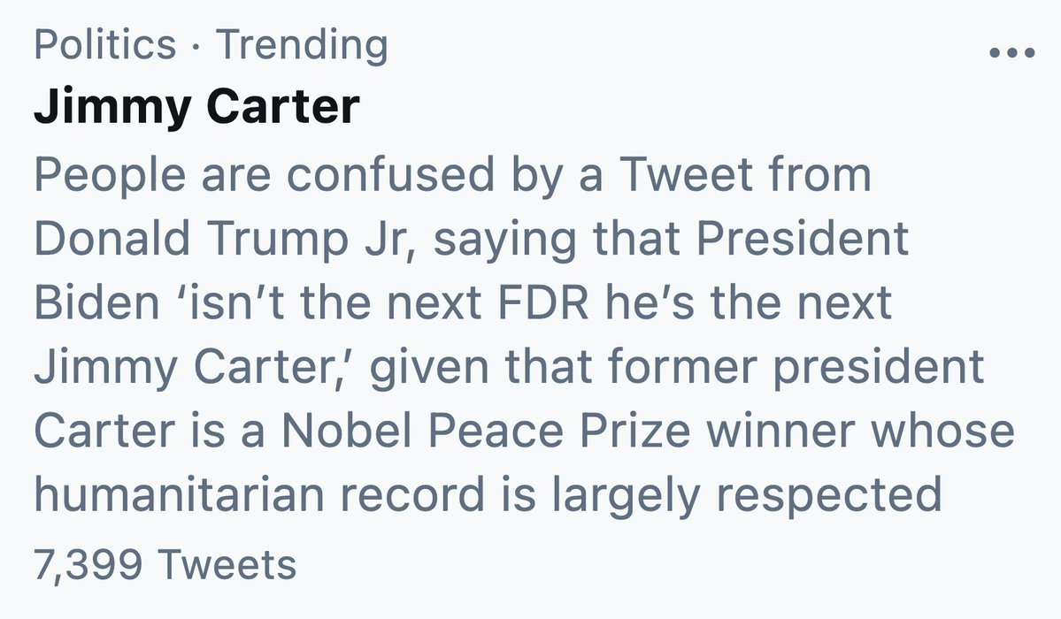 @DonaldJTrumpJr's photo on Jimmy Carter