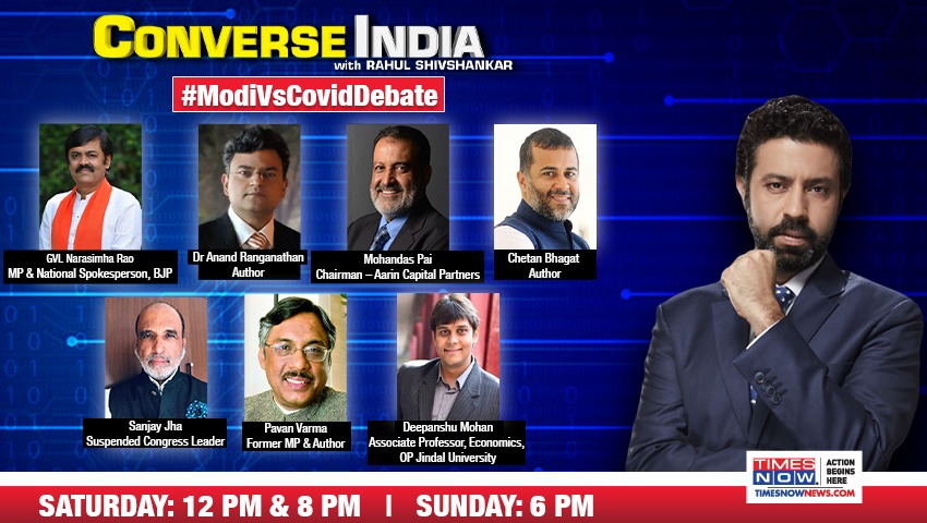 2nd COVID surge opens floodgates, Opposition aligns to hit out at Centre, saying, 'Poll loss verdict on Modi Sarkar.' Modi backers respond & mock Opposition.  @TVMohandasPai, @Chetan_Bhagat, @JhaSanjay & others share their views on CONVERSE INDIA at 8PM. | #ModiVsCovidDebate https://t.co/21a0TTGvIU