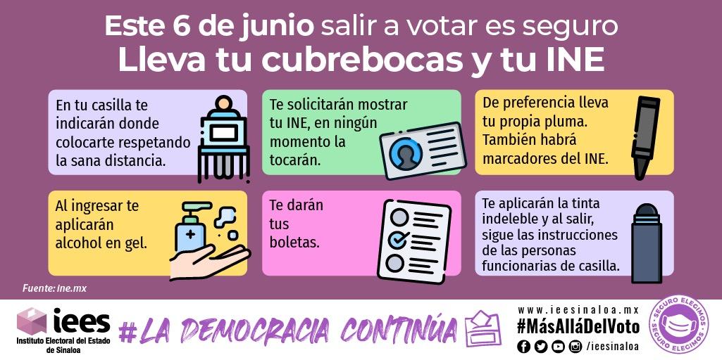 ¿Sabes qué medidas sanitarias aplicaremos el día de la elección?  Conoce el #DecálogoDelVotoResponsable y ejerce tu derecho al voto de manera segura el próximo #6DeJunio 🗳  ¡Si te cuidas tú, nos cuidamos todas y todos!  #Infórmate 🔎 #EleccionesMx