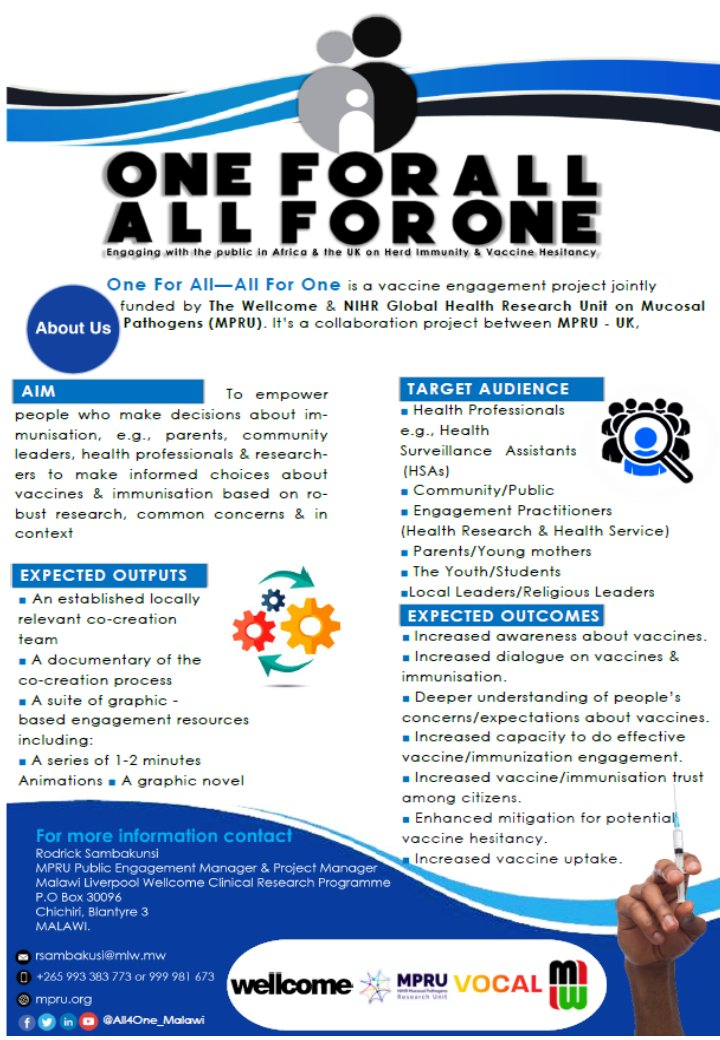 #One4All_All4One is a vaccine engagement project aimed at stimulating discussion with different audiences in #Africa & #UK on #HerdImmunity & #VaccineHesitancy. This is a @wellcometrust & @NIHR_MPRU funded project. @MlwTrust @letsgetvocal @Interfer_ @MalawiGovt @WHO @WHOAFRO https://t.co/LJG0DOGRzW