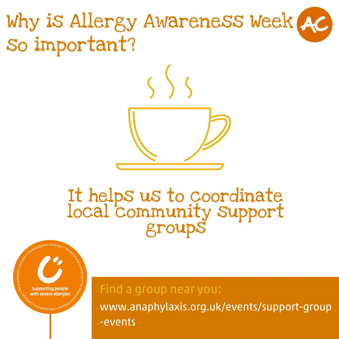Why is Allergy Awareness Week so important? It helps us to coordinate local community support groups. Find out more about what we have planned for Allergy Awareness Week and how you can get involved: ow.ly/1suD50Ec6Yp