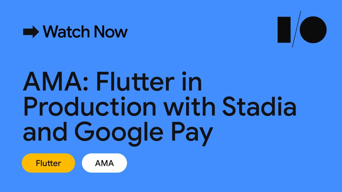 🎮 Grab a seat at the Flutter in production with @GoogleStadia and @GooglePay AMA Get answers about how @dart_lang and Flutter can work in production from the engineers of two of Flutter's biggest apps 👉 goo.gle/3wgqaSD