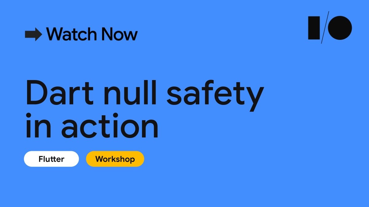 Join us and learn about Dart's null safety through practical exercises.  📚 Null safety 🧹 How it contributes to writing faster, cleaner code 🦥 Lazy initialization and late circular references  Start learning → goo.gle/3fwiO6D