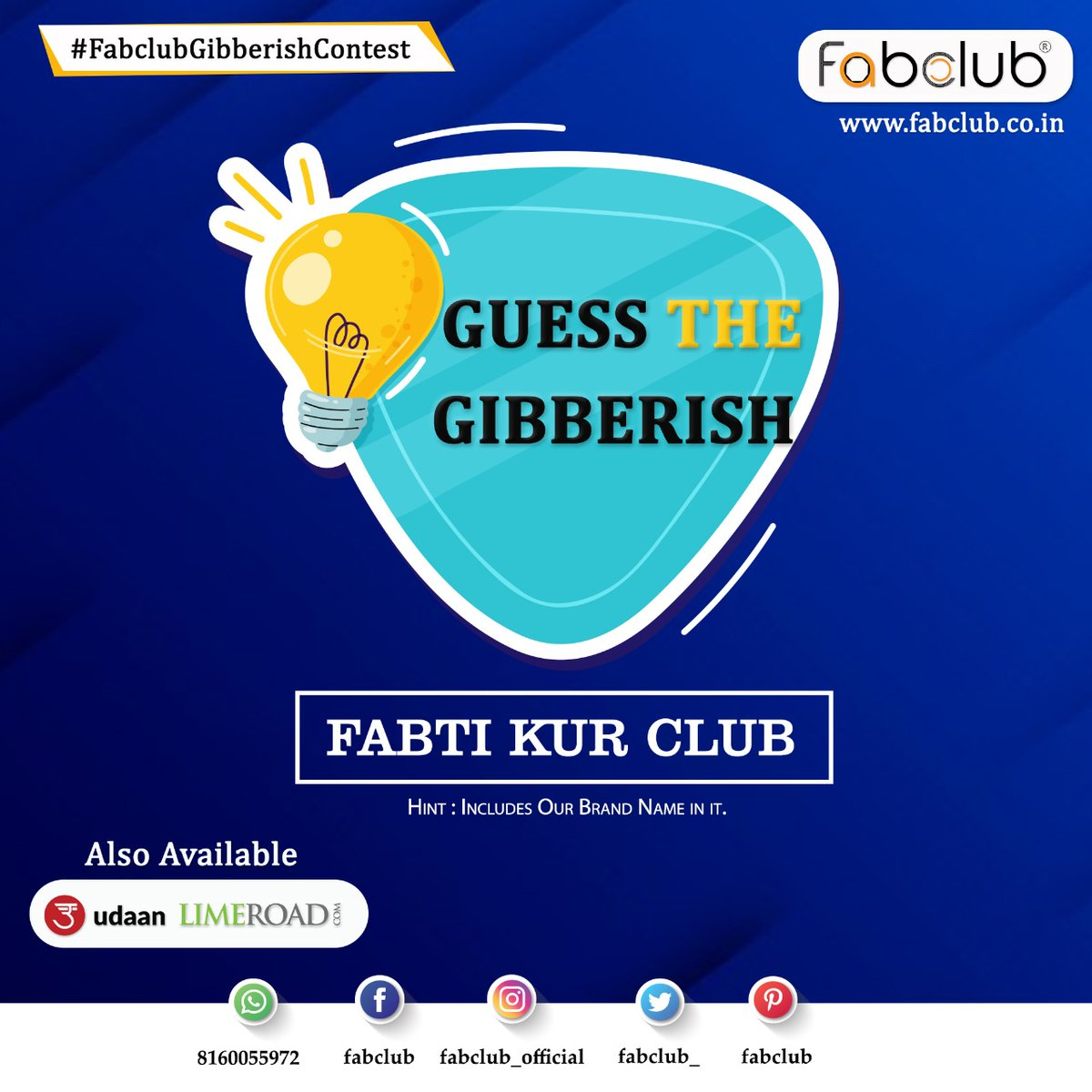 #ContestAlert #Contest  Comment Your Answer And Your Chance To Win! #FabclubGibberishContest  T&C https://t.co/6sIOqtJgW0 Subscribe us on Youtube https://t.co/WsAa1IErm0  #Gibberish #GibberishContest #GibberishChallenge  #ContestIndia #GiveAway #Quiz #GiveAwayContest https://t.co/SJtkCX1CTF