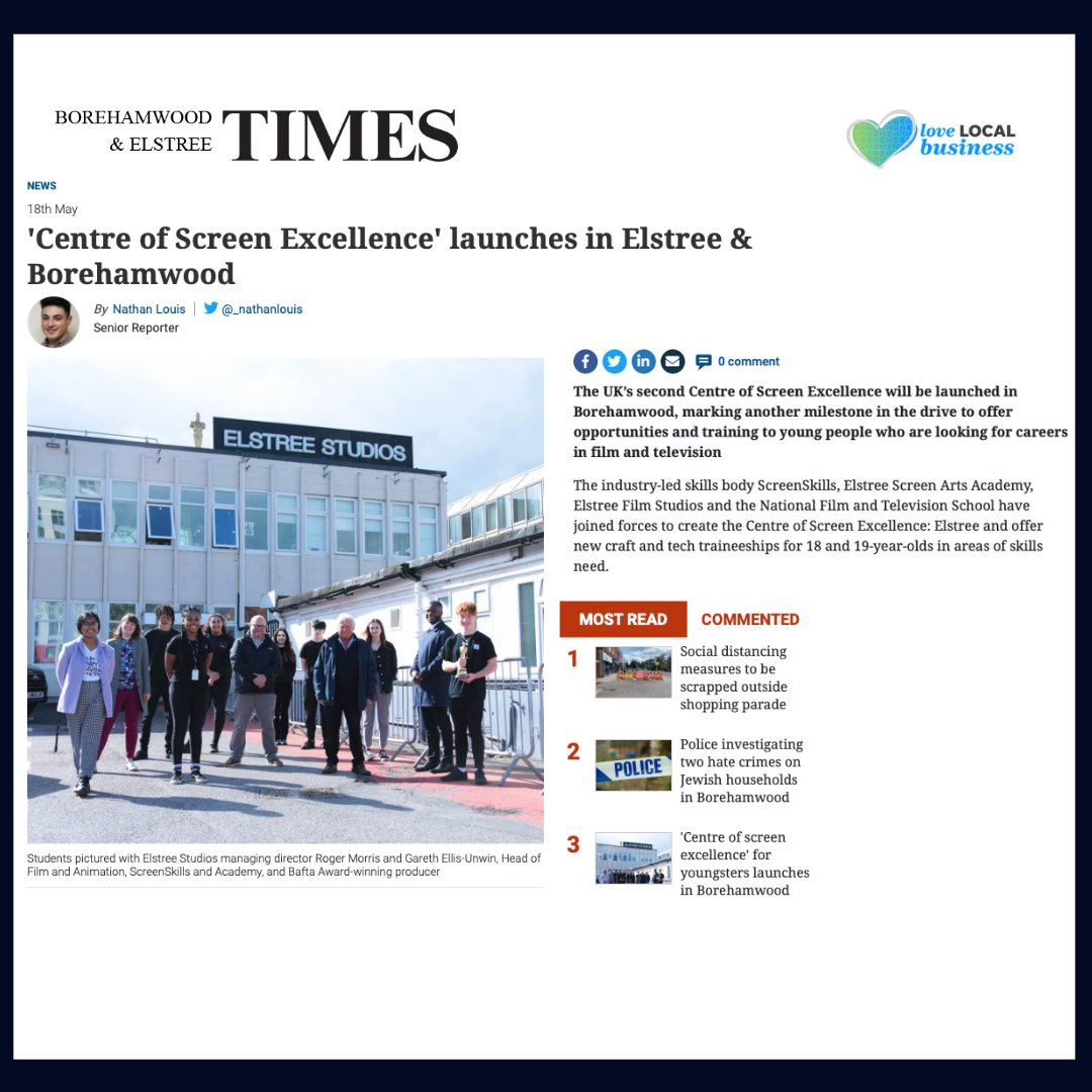 🔥🔥We are in the top three MOST READ news in Borehamwood & Elstree Times! 🔥🔥  We are the NEW UK's Centre of Screen Excellence 🚀 offering opportunities and training to young people who want to work and build a career within the film and television industry! 🎬  #esaNOW https://t.co/5M8uVUPBAQ