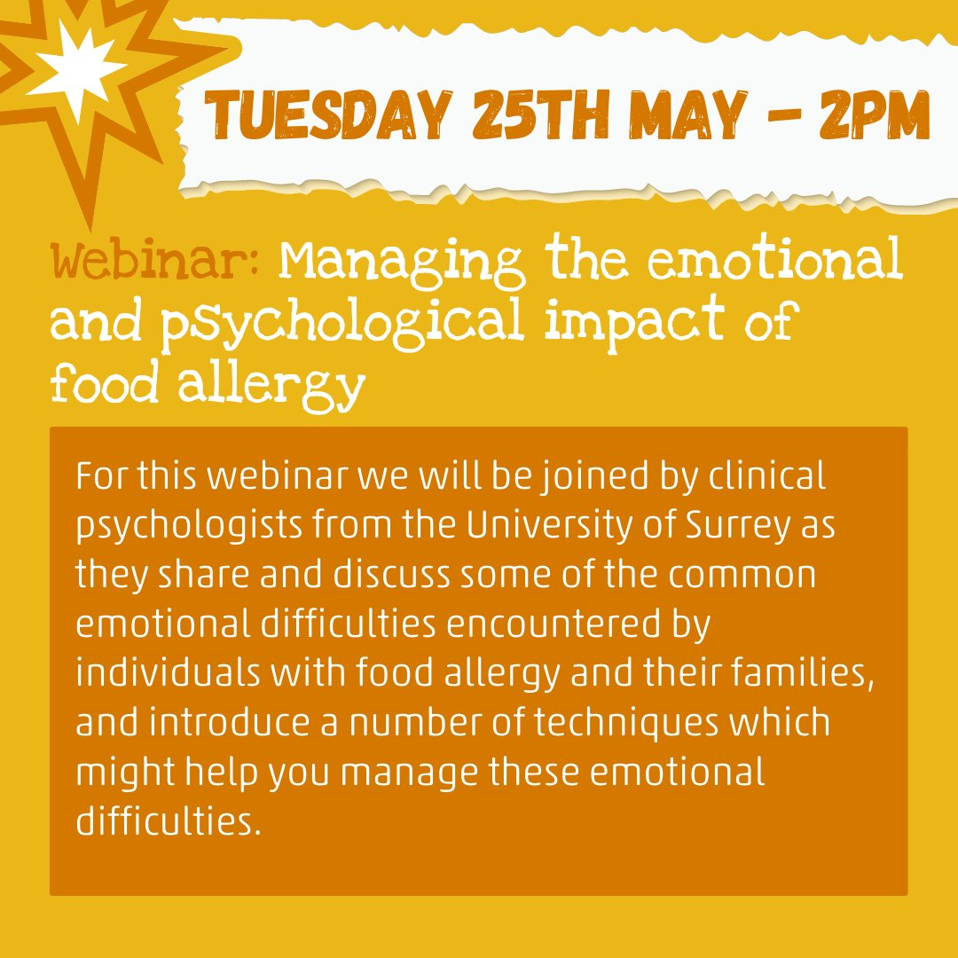 Managing the emotional and psychological impact of food allergy – Tuesday 25th May: 2pm Free to members of the Campaign. Non-members: £22 including a year's free membership. Register here: ow.ly/g0nR50EFbo2 #allergyawarenessweek