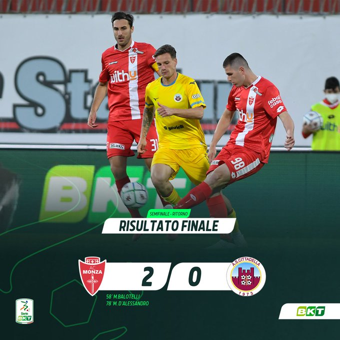 Hasil akhir leg 2 semifinal play off Serie B Liga Italia AC Monza 2-0 Cittadella