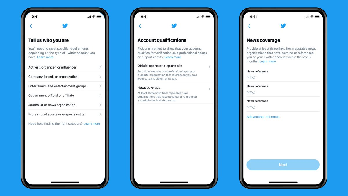 Visual showing three steps in the new verification flow